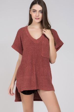 Short Sleeve Chenille Sweater Popcorn Sweater